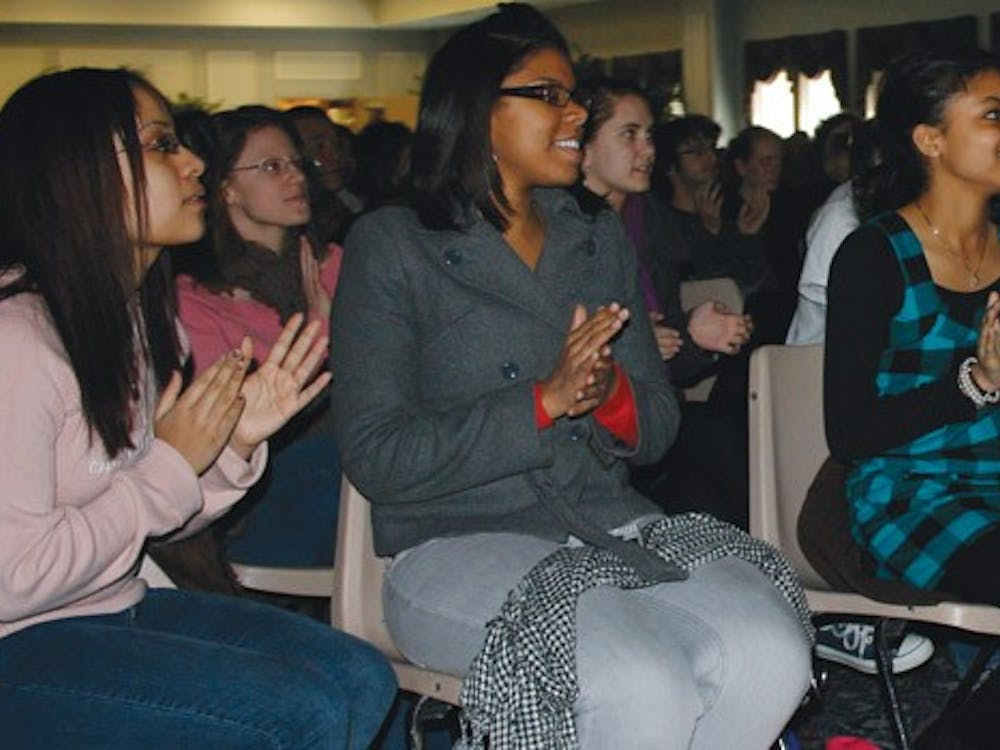 Dozens of students, facaulty, and staff came to the Alice Haynes room to witness Obama's historic inauguration.