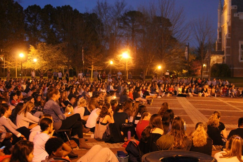 <p>Crowds of students support their&nbsp;peers at Take Back the Night.</p>
