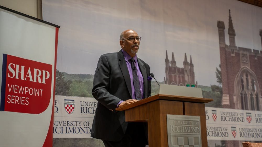 <p>Michael Steele delivers a speech as part of the Sharp Speaker Series.</p>