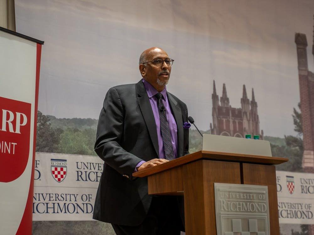 Michael Steele delivers a speech as part of the Sharp Speaker Series.