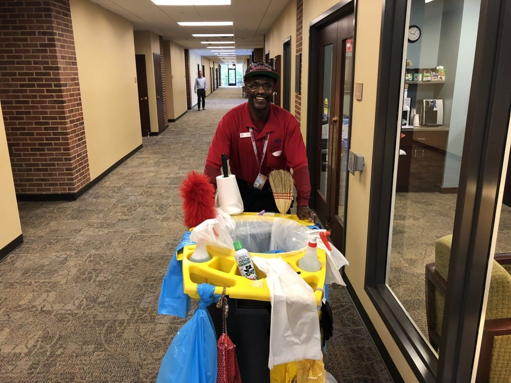 Michael W. Taylor, 57, is an auxiliary custodian who is responsible for the cleanliness of Tyler Haynes Commons.