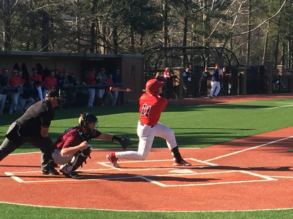 Doug Kraeger watches as his hit flies into the outfield during a seriesagainst UMES this weekend. Kraeger hit for the cycle in Sunday's game.