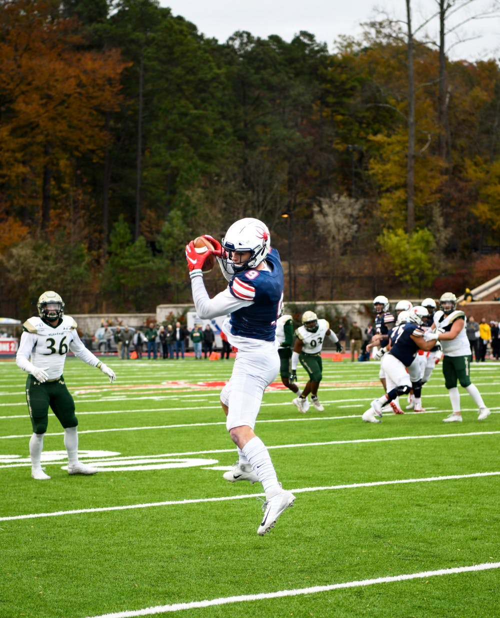 <p>Wide receiver Charlie Fessler makes a catch during the Capital Cup game on Saturday, November 23, 2019. The Spiders lost to rival College of William &amp; Mary 21-15.</p>