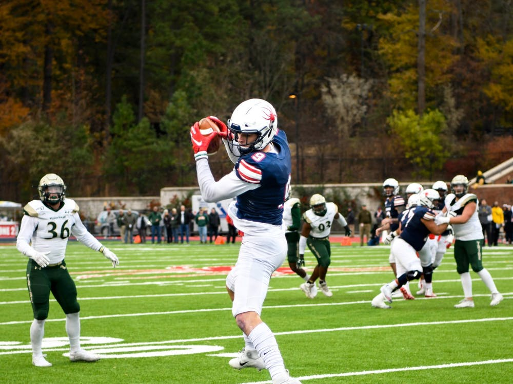 Wide receiver Charlie Fessler makes a catch during the Capital Cup game on Saturday, November 23, 2019. The Spiders lost to rival College of William & Mary 21-15.