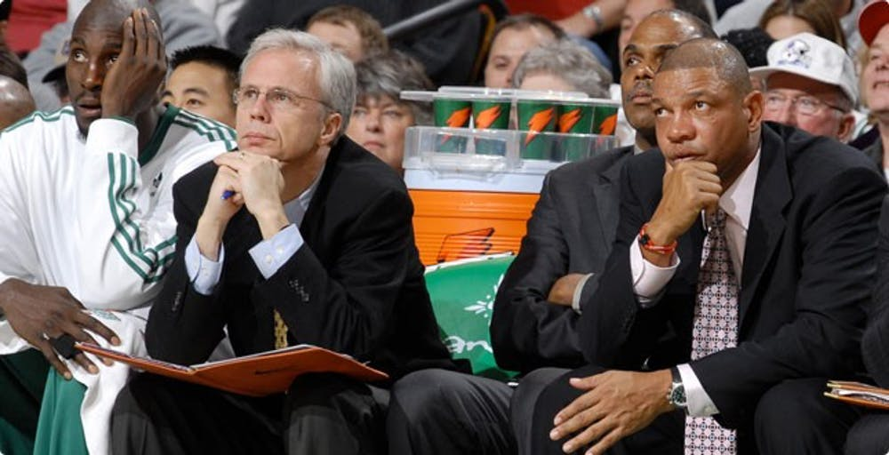 <p>Kevin Eastman (second from the&nbsp;left) on the&nbsp;Celtics bench. <em>Photo courtesy of the University of Richmond Newsroom.</em></p>