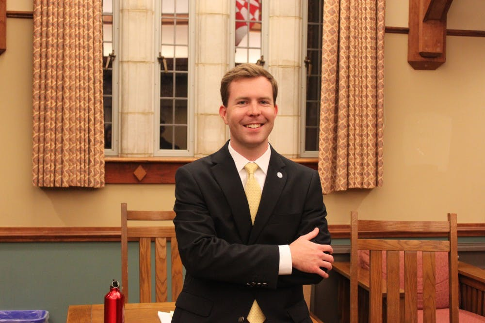 <p>Brad Groves, president of the Richmond College Student Government Association, before a meeting in the Whitehust Livingroom.</p>