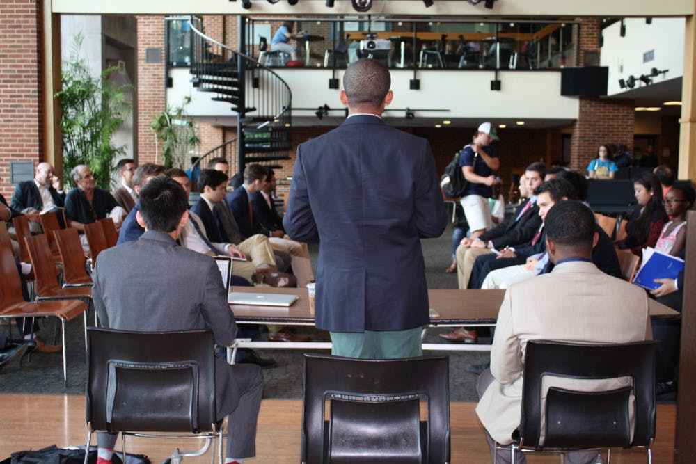 <p>Richmond&nbsp;College&nbsp;Student&nbsp;Government Association&nbsp;president Ken Anderson addressed members and students in an open forum on Wednesday.</p>