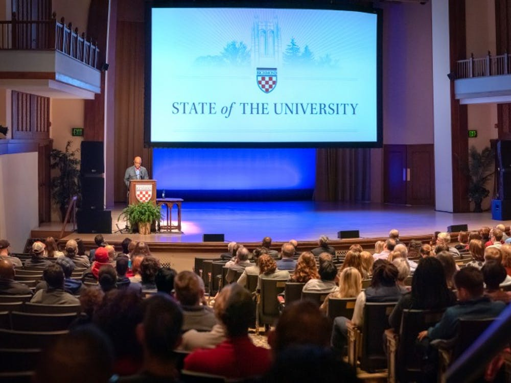 University President Ronald Crutcher gives his State of the University address on Tuesday, Nov. 13 in Camp Concert Hall.