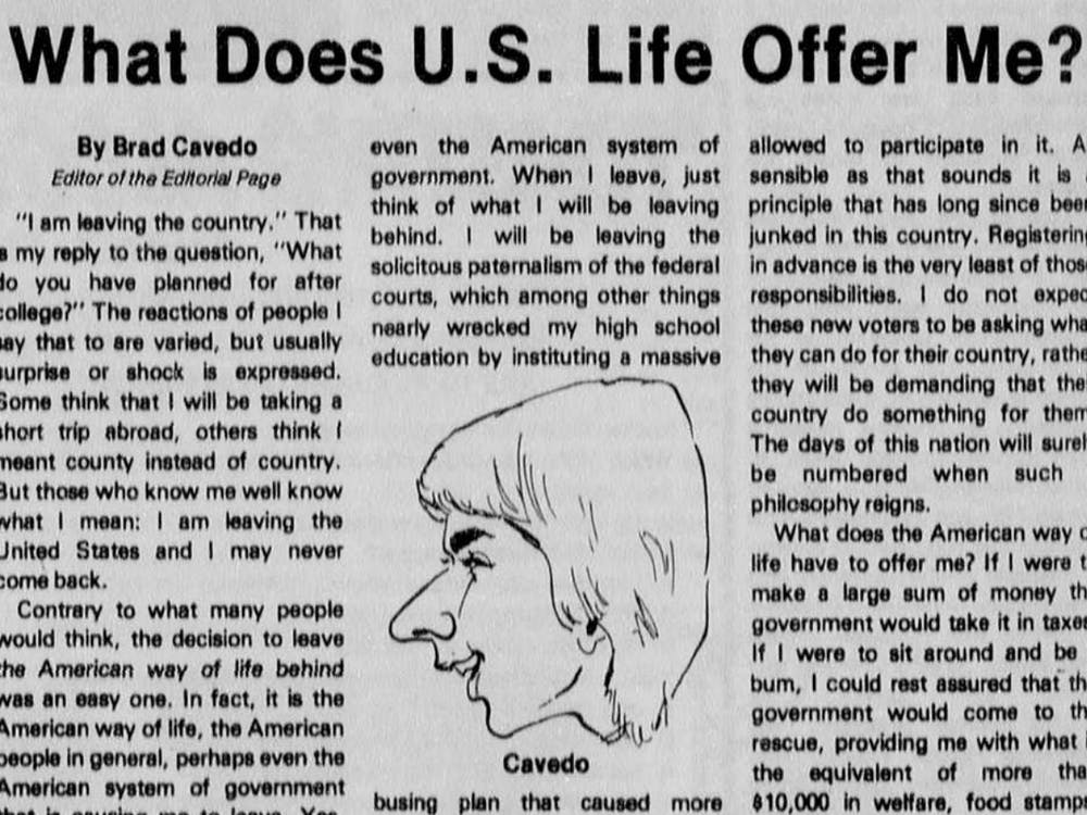 Richmond Circuit Court Judge Bradley Cavedo's opinion piece in the April 21, 1977, issue of The Collegian, from The Collegian Archives.