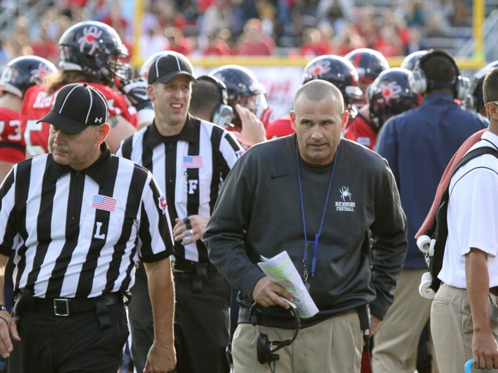 Coach Danny Rocco stands on the sidelines during a Richmond victory.