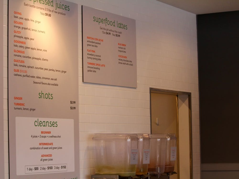 A glimpse of the new updated menu at Ginger Juice in Richmond, Virginia.