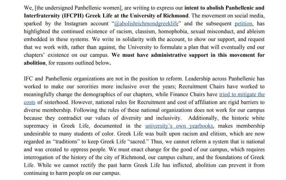 <p>First two paragraphs of statement signed by more than 100 students requesting the abolishment of Greek life, which was sent in an email to members of the UR administration and the president of the faculty senate on Aug. 9.&nbsp;</p>