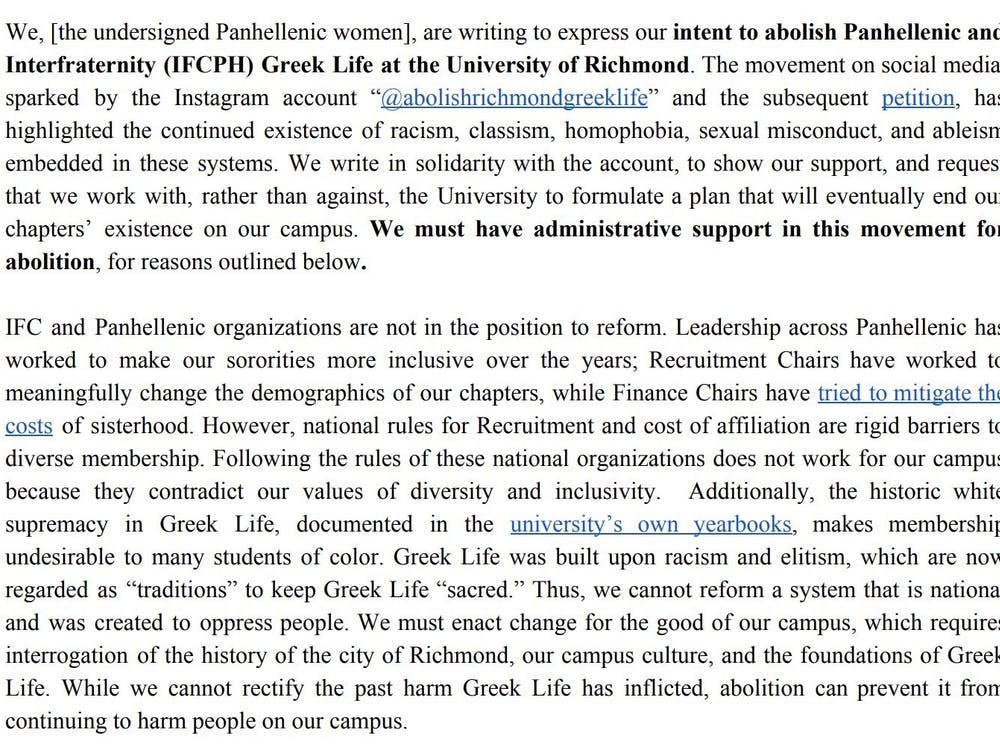 First two paragraphs of statement signed by more than 100 students requesting the abolishment of Greek life, which was sent in an email to members of the UR administration and the president of the faculty senate on Aug. 9.