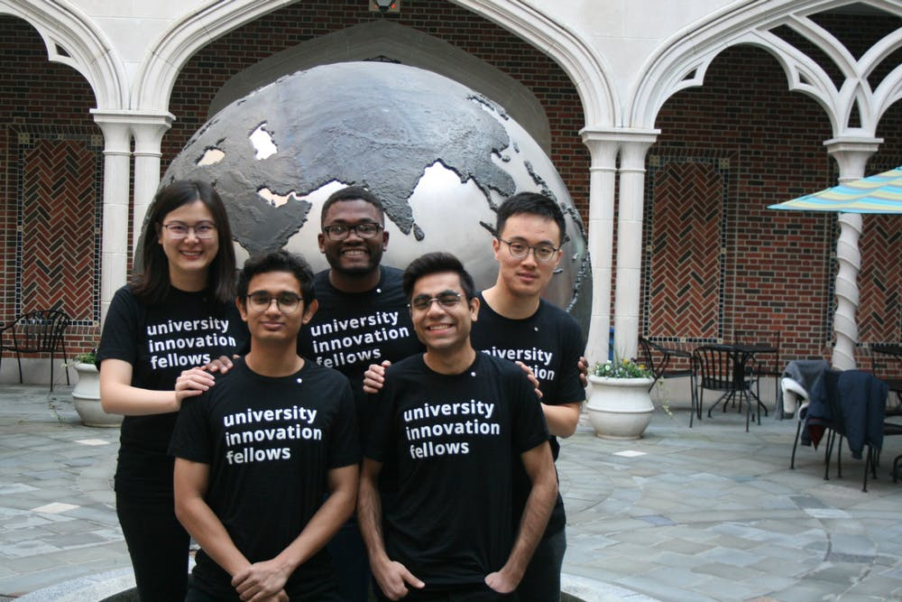 <p>The five University of Richmond students who took part in the University Innovation Fellows program, run through Stanford University's Hasso Plattner Institute of Design. <em>Photo courtesy of Bingjie Liu</em></p>