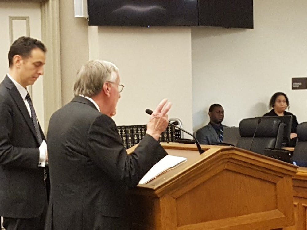 Del. Ken Plum (front right) presents his minimum wage bill to the House Commerce and Labor Subcommittee #2.