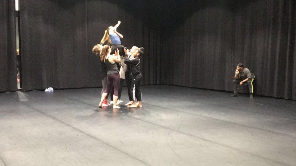 <p>Nine members of the University Dancers work with choreographer Christian von Howard to rehearse his piece, which will be performed at their annual show in March.&nbsp;</p>
