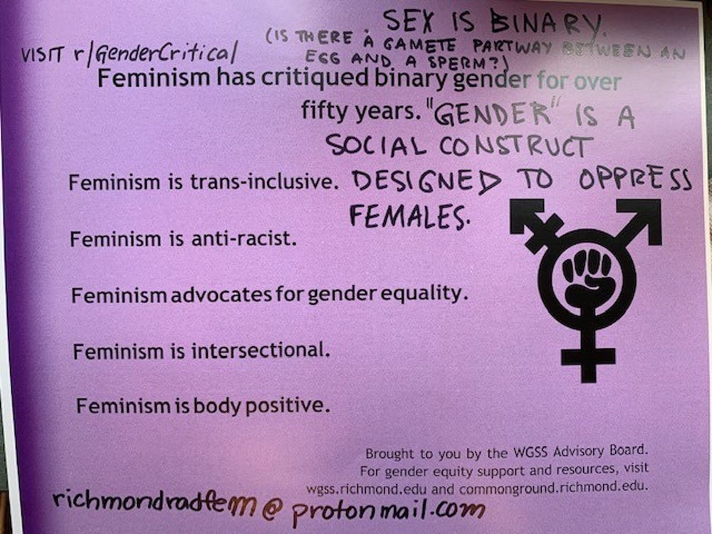 <p>A poster created by WGSS faculty members promoting the idea that transgender people are welcome in the UR community was written over by a student who thought the poster was inaccurate. <em>Photo courtesy of Eric Anthony Grollman</em></p>