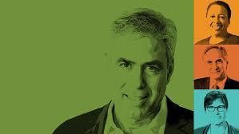 <p>The Sharp Viewpoint Series graphic, with author Jonathan Haidt featured center in green. <em>Photo courtesy of the Office of the President.</em></p>