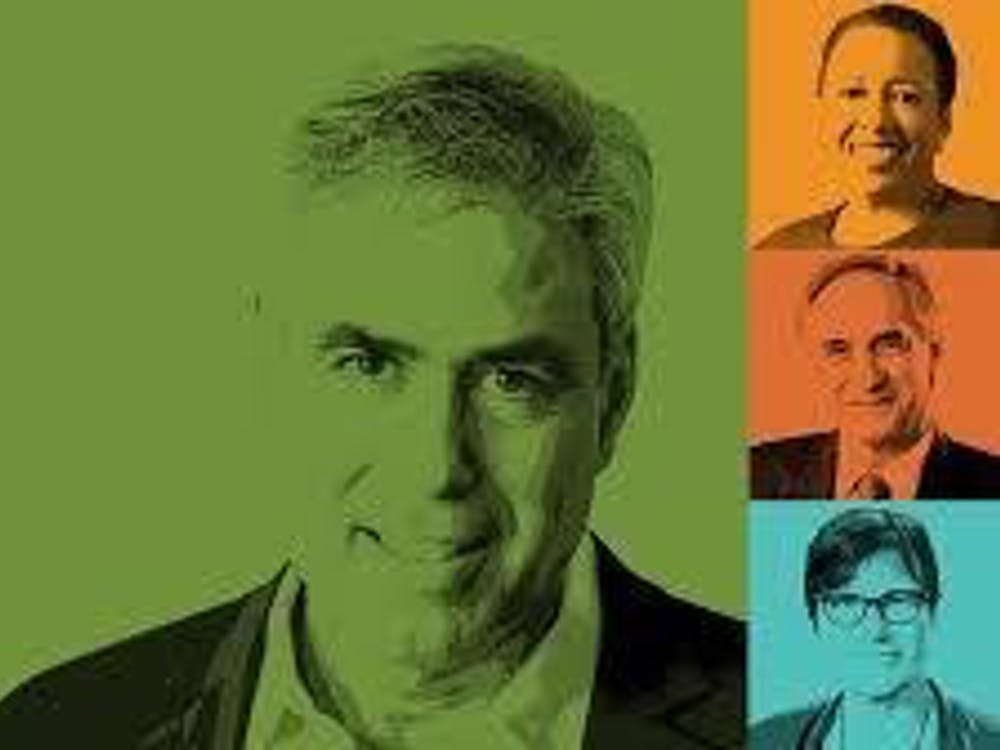 The Sharp Viewpoint Series graphic, with author Jonathan Haidt featured center in green. Photo courtesy of the Office of the President.