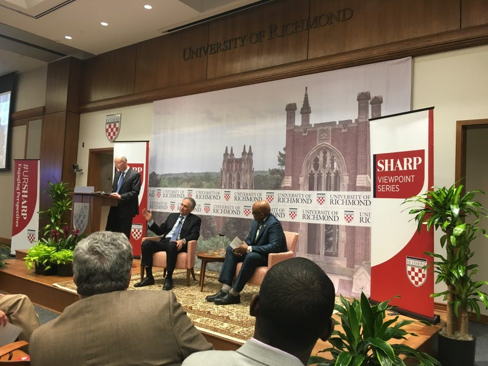 <p>Robert Zimmer, left, president of the University of Chicago, and Ronald Crutcher, president of UR, discuss freedom of expression at a Sharp Viewpoint Speaker event Tuesday night.&nbsp;</p>