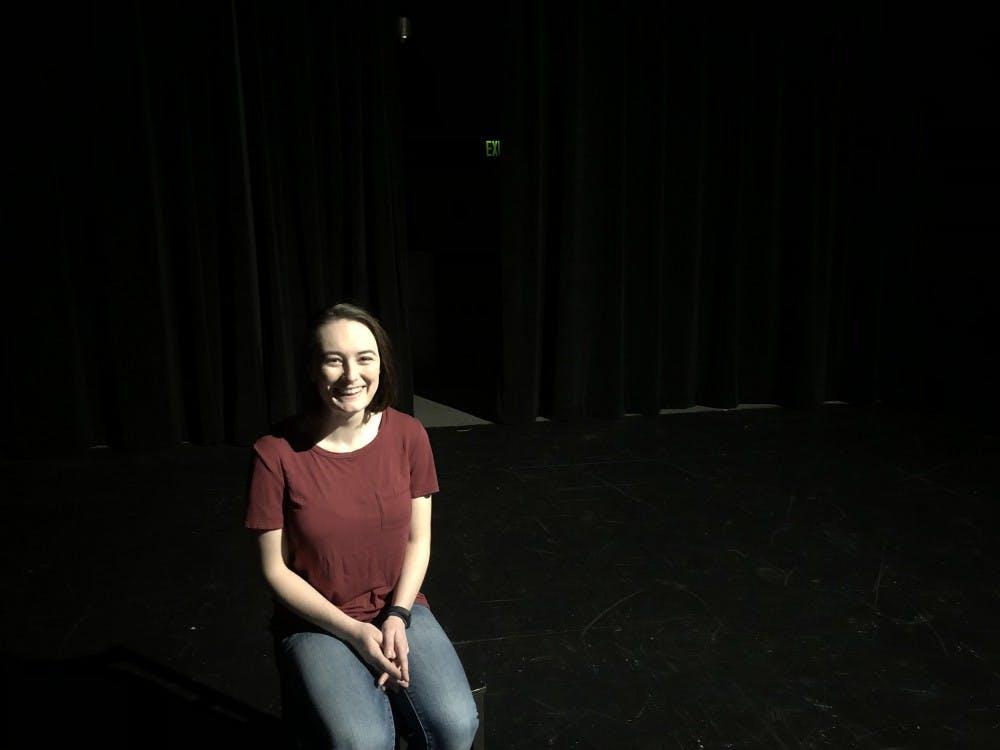 Senior Liz Minder in Cousins Studio Theatre.