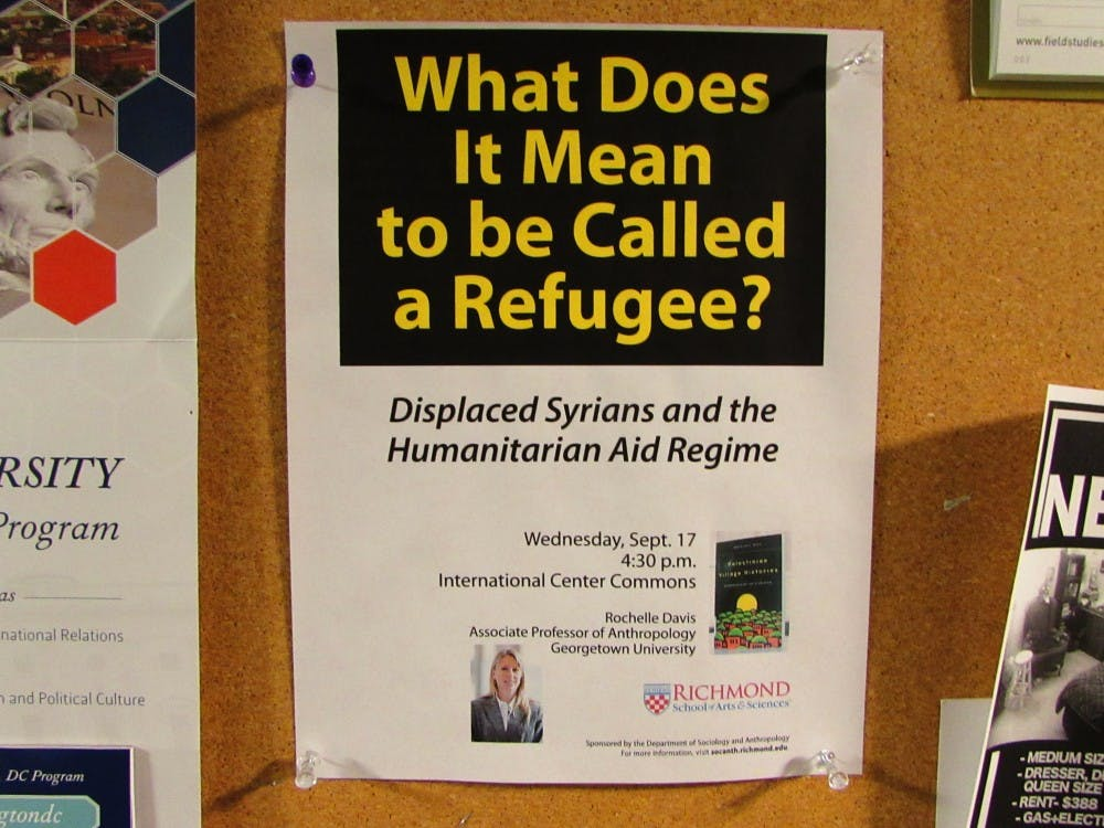 <p>A poster promoting Wednesday's talk about Syrian refugees.</p>