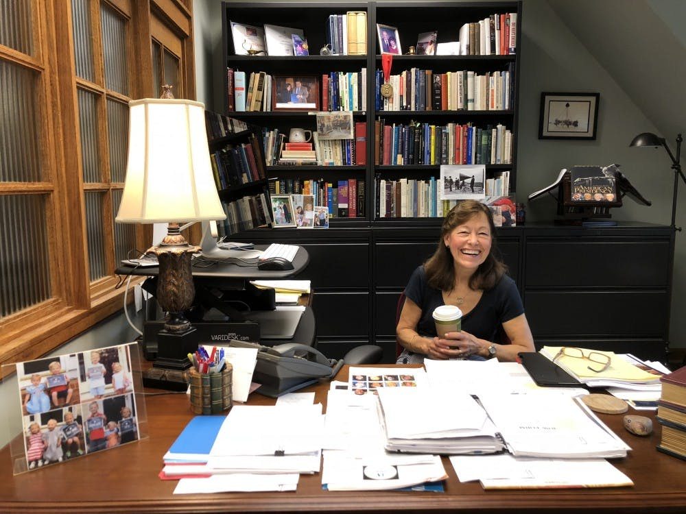 <p>Professor Linda Hobgood sits in her office at the Speech Center on the fourth floor of Weinstein Hall.&nbsp;</p>