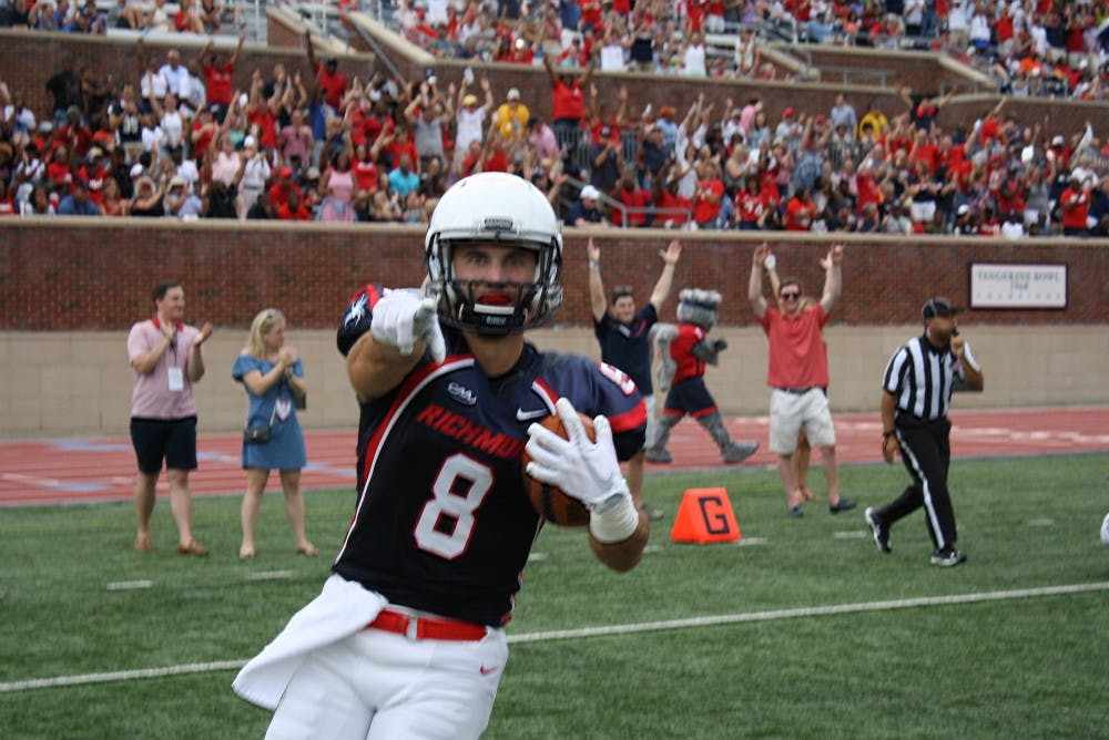 <p>Richmond wide receiver Porter Abell caught two of Kyle&nbsp;Lauletta's six touchdown passes on Saturday</p>