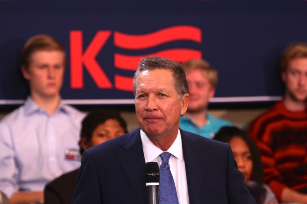 <p>Ohio Governor John Kasich answers questions during a talk at the University of Richmond on Oct. 5, 2015. Kasich is running for President as a republican candidate. </p>
