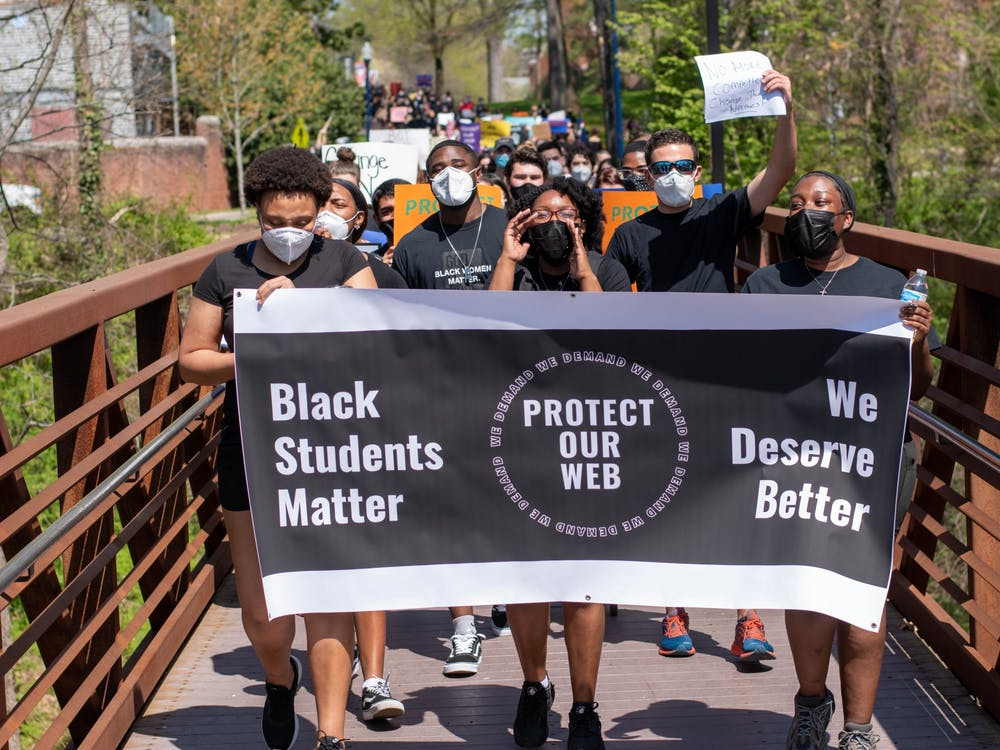 Students, faculty and staff marched at noon on April 7 from the University Forum to the intramural fields in support of the University of Richmond Black Student Coalition's demands outlined in the Statement on Black Student Welfare.