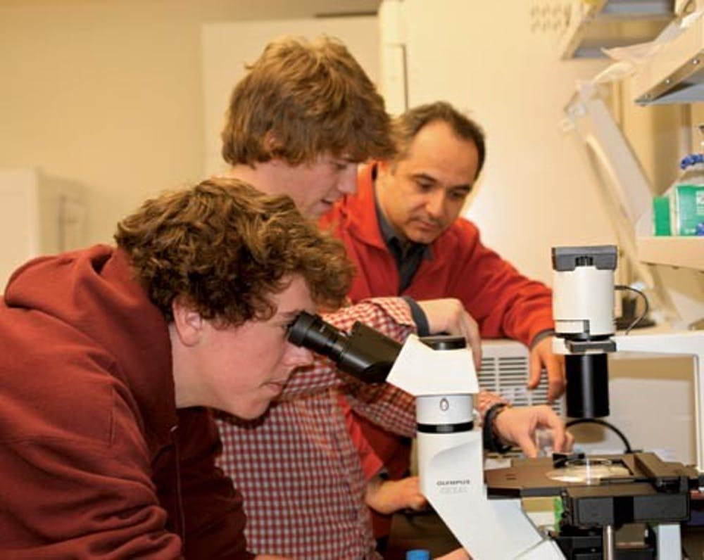 <p>Students conducting research in the Gottwald Center for the Sciences.</p>
