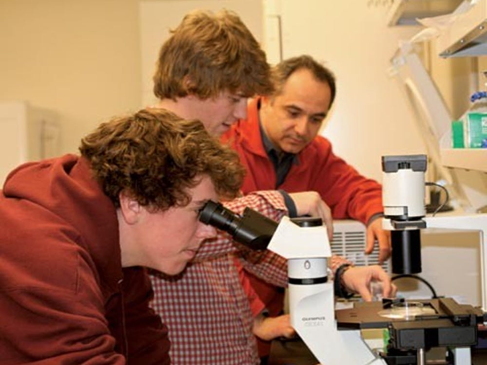 Students conducting research in the Gottwald Center for the Sciences.