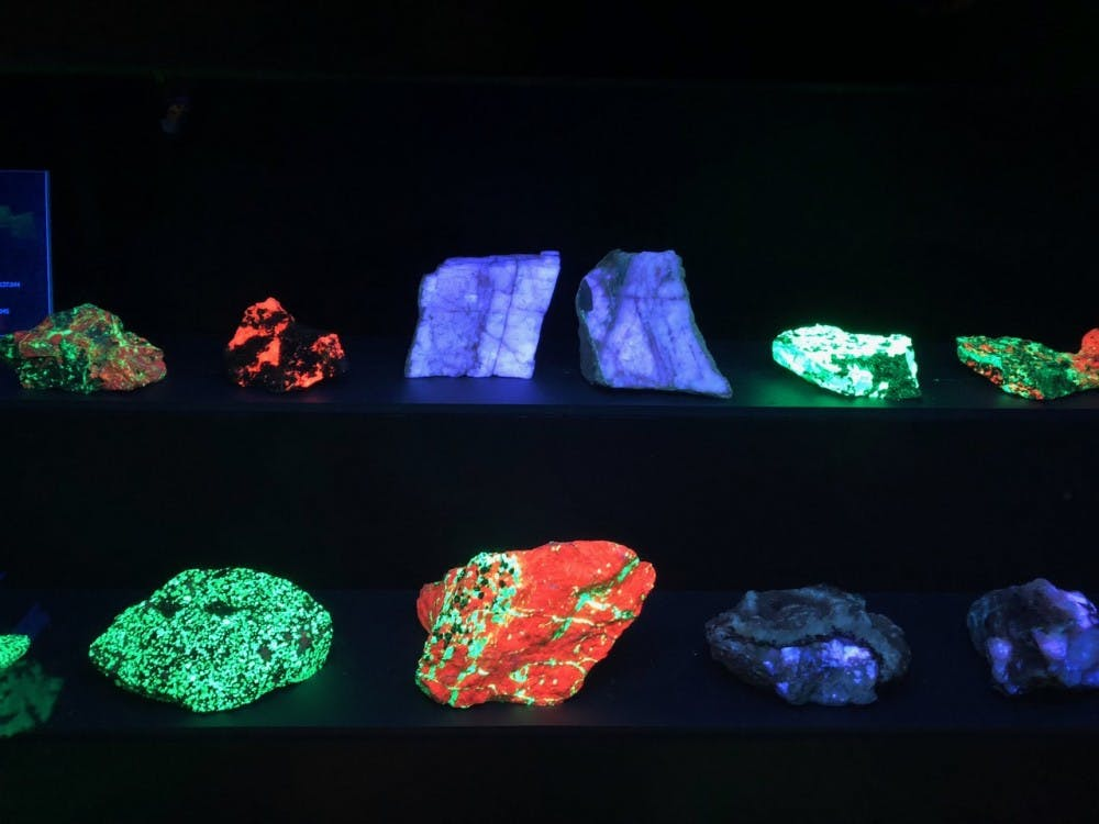 A small side room in the Lora Robins Gallery features fluorescent rock displays. To fully witness the rocks' unique colors, guests can hit a green button on the wall that dims the regular lights and exposes the different rocks to a sequence of ultraviolet lights, illuminating bright and natural neon shades of green, red, blue and purple.