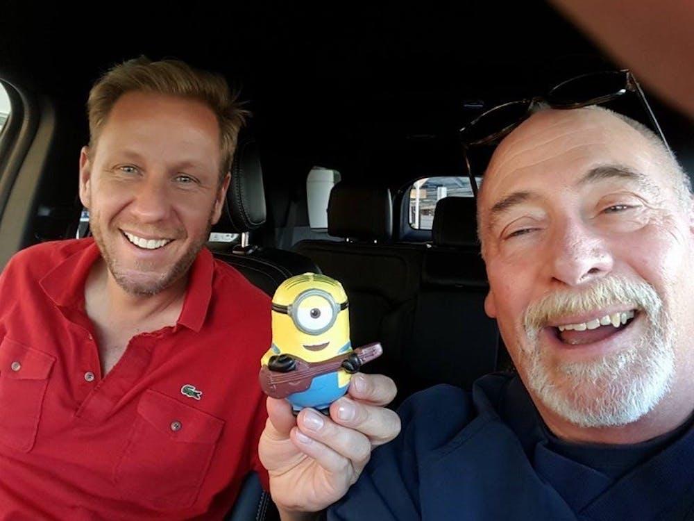 <p>Schumm (right) with&nbsp;Dave Rosenbaum, the vice president of talent at Illumination Studios and University of Richmond alumnus | Courtesy of Bob Schumm</p>