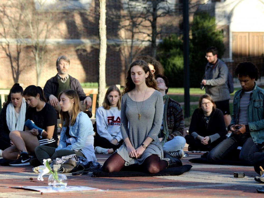 University of Richmond students held a sit-in to promote gun control and acandle light vigil in honor of the Parkland shooting victims on Tuesday, Feb. 27, 2018 in the Forum.