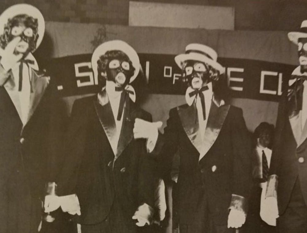 "<p>An image of students in blackface, originally published in 1964 The Web yearbook. The image was displayed during the ""Our History Untold"" event.&nbsp;</p>"