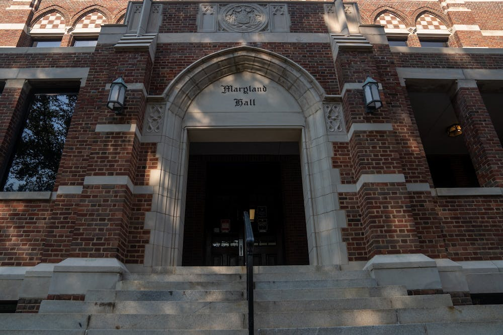 <p>&nbsp;</p> <p>Maryland hall, the head administrative building on campus</p>