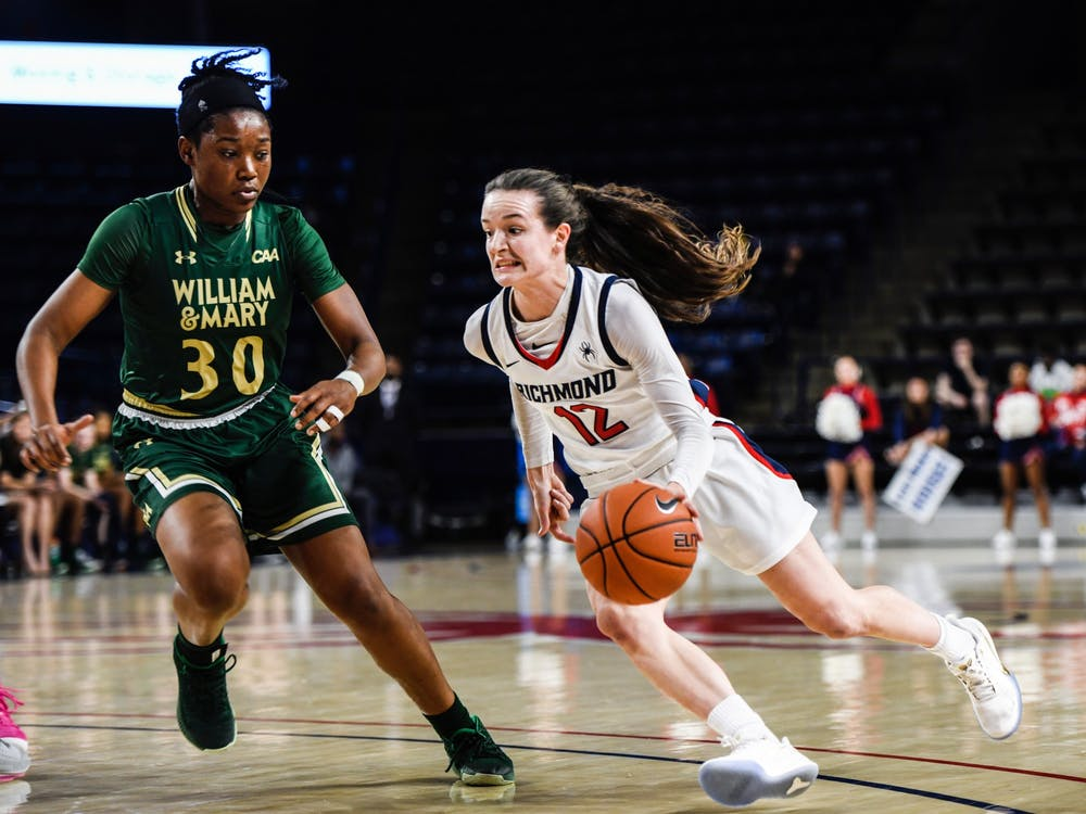 Sophomore guard Claire Holt sprints down the court avoiding William and Mary defense during a game on Wednesday, November 21, 2019.