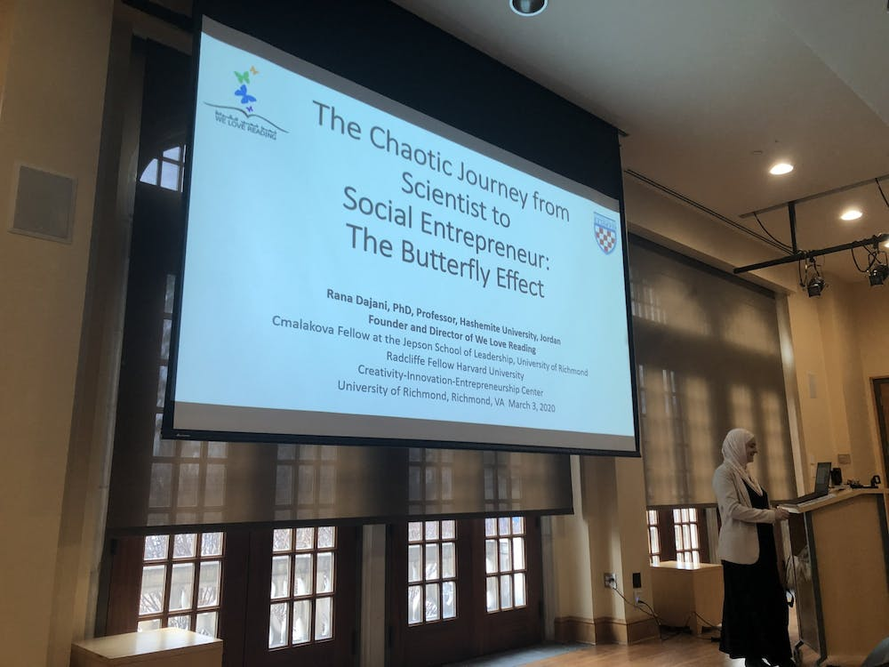 <p>Rana Dajani, a visiting scholar at the Jepson School of Leadership Studies, spoke about the organization she founded, We Love Reading, as part of the Creativity, Innovation and Entrepreneurship lecture series.</p>