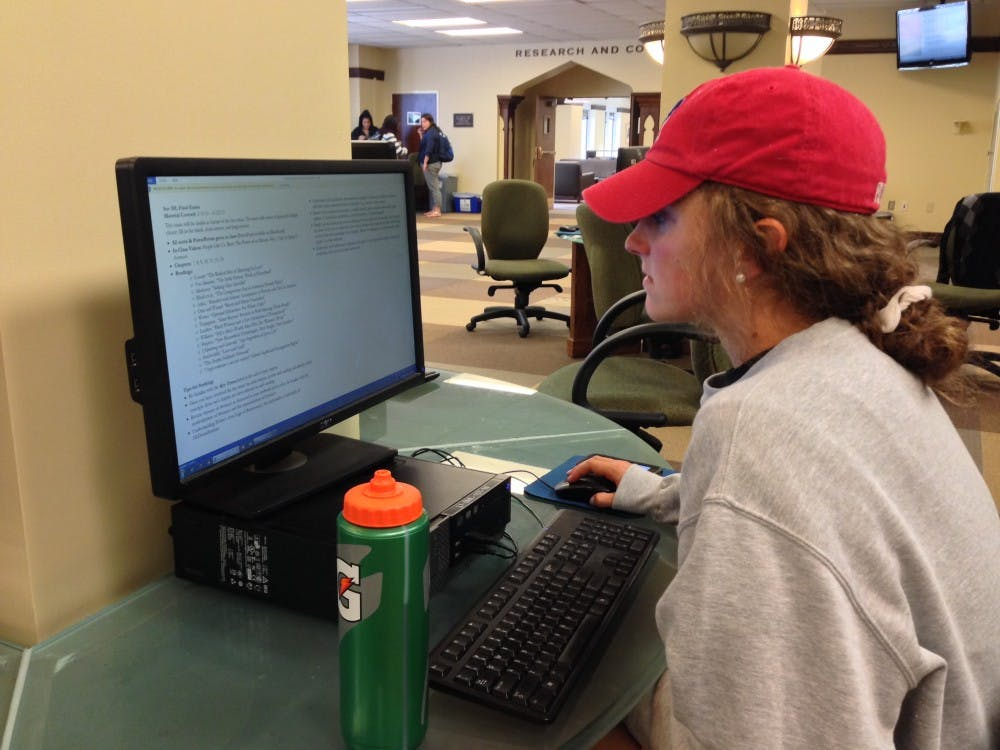 <p>Maeve Holland embraces the final stretch of exams by posting up in Boatwright.</p>