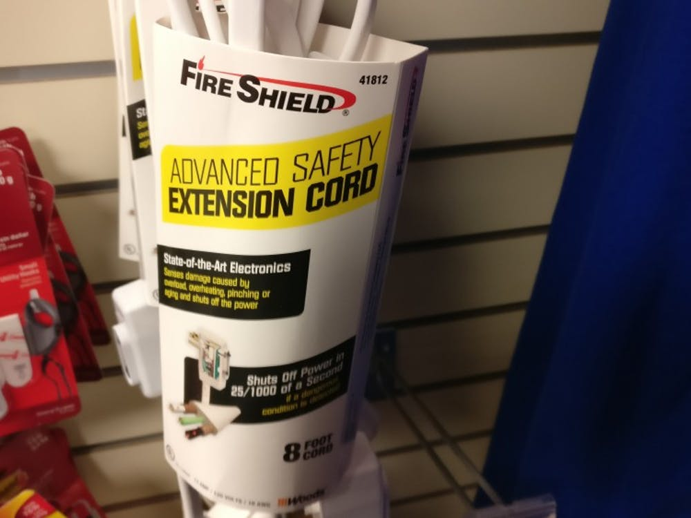 The Fire Shield-brand extension cords offered in the University of Richmond bookstore.