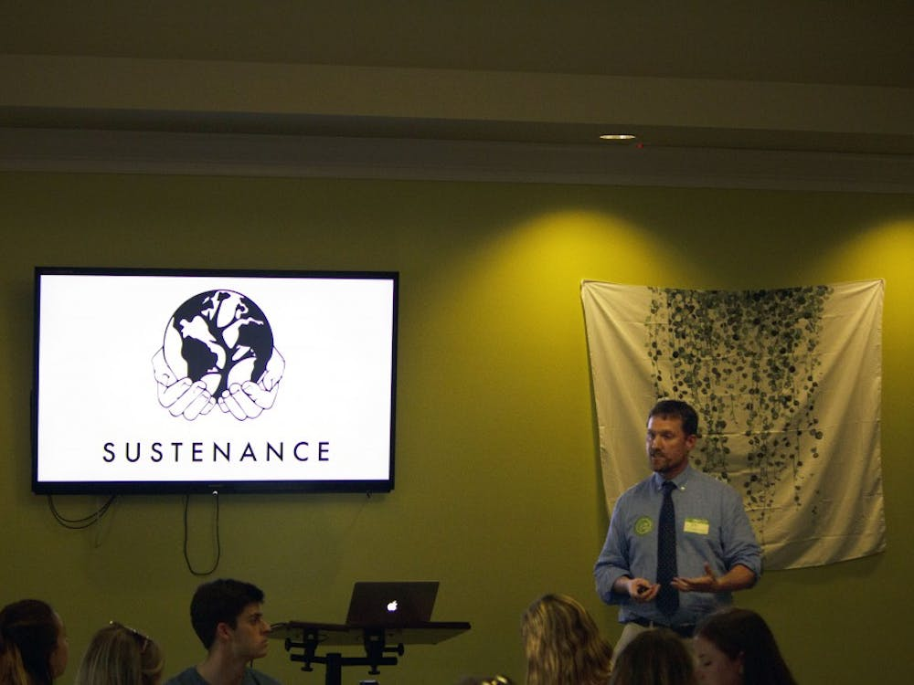 Director of Sustainability Rob Andrejewksi speaks at the Office of Sustainability banquet.