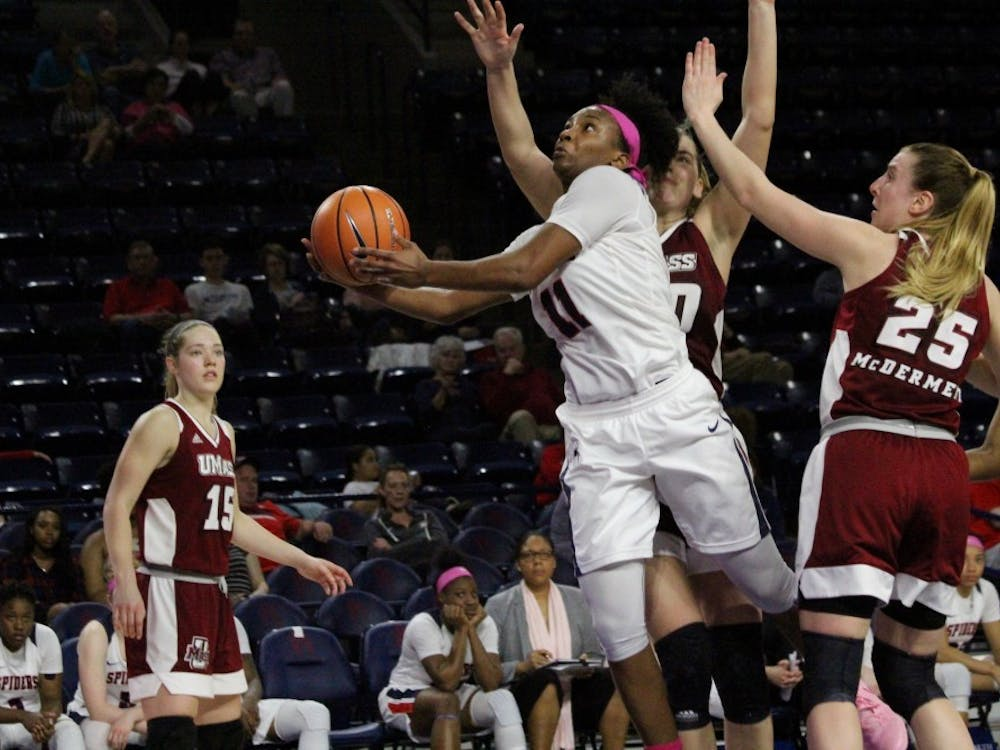 The Richmond women's basketball team loses to UMass 58-49 in the E. Claiborne Robins Center on Wednesday, Feb. 21, 2018.