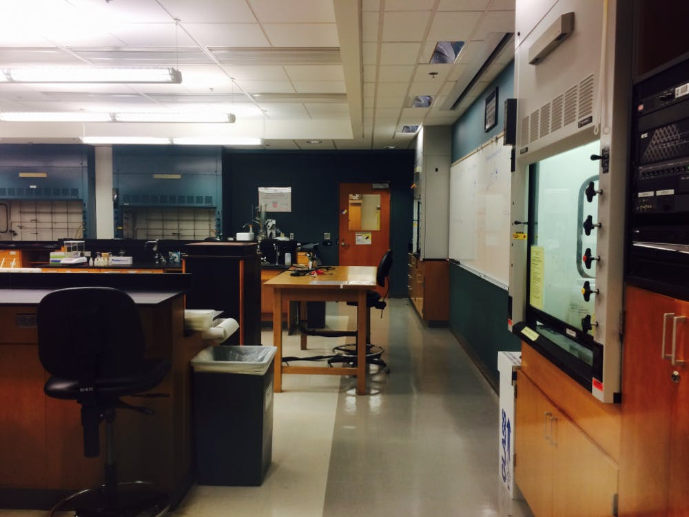 One of Dr.Myers' old classrooms in Gottwald sits silent in his absence.