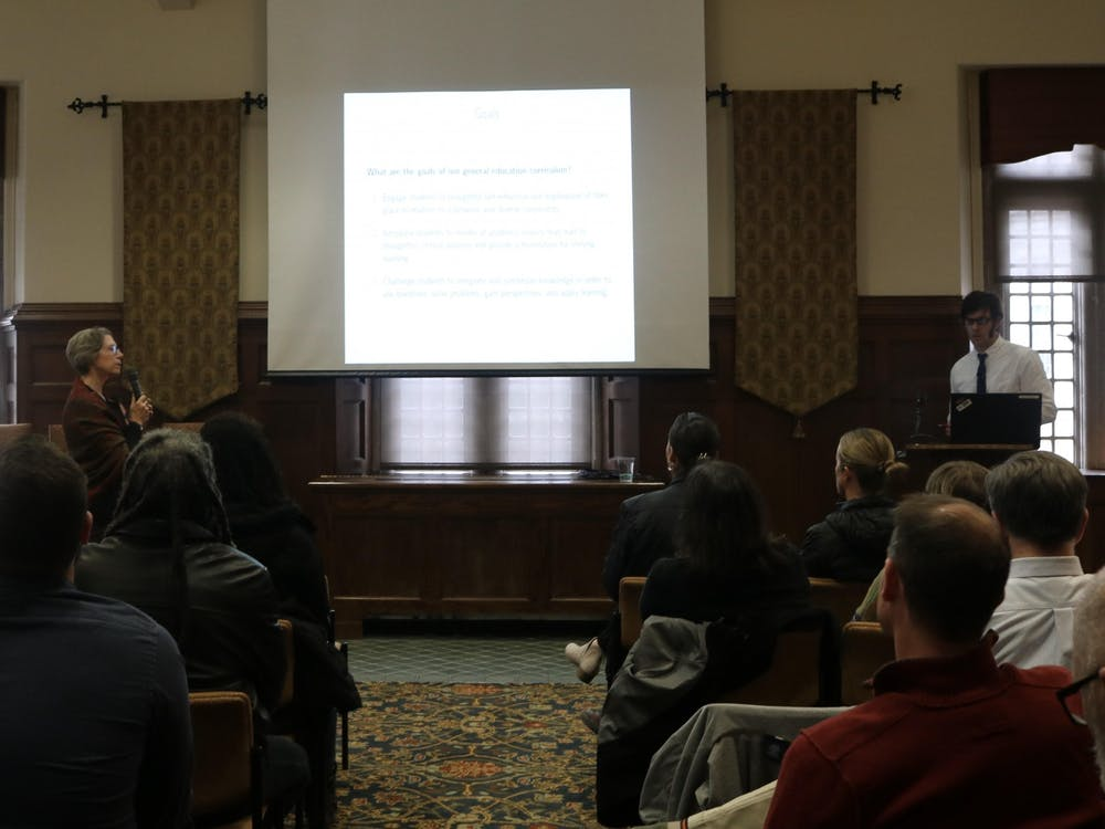 Members of the General Education Curriculum Improvement Committee present on possible changes at a meeting on Friday, Jan. 31, 2020. The committee presented three proposals to the public during several meetings last week.