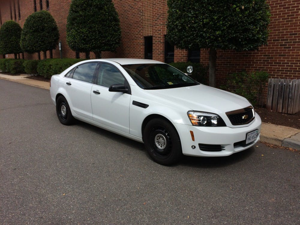 <p>One of URPD's unmarked cars sits outside the&nbsp;E. Claiborne Robins Stadium.</p>