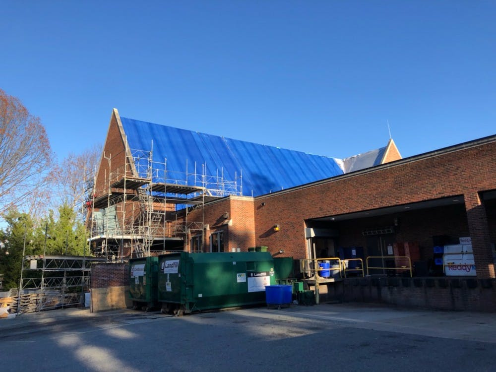 Construction on the roof of the Heilman Dining Center will continue in to December.
