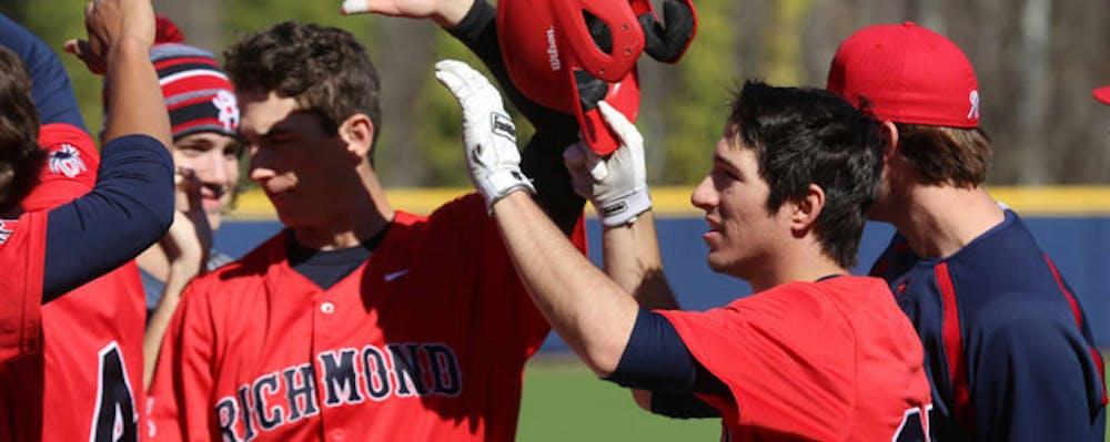 <p>The Richmond baseball team celebrates a win.&nbsp;</p>