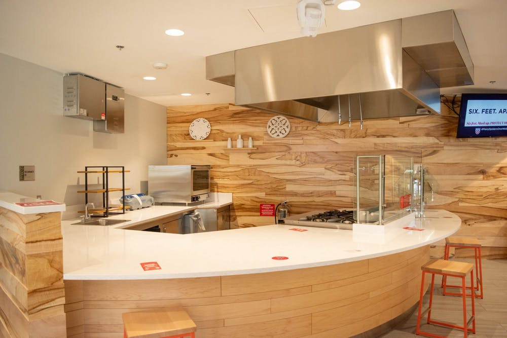 The demonstration kitchen in the Well-Being Center.