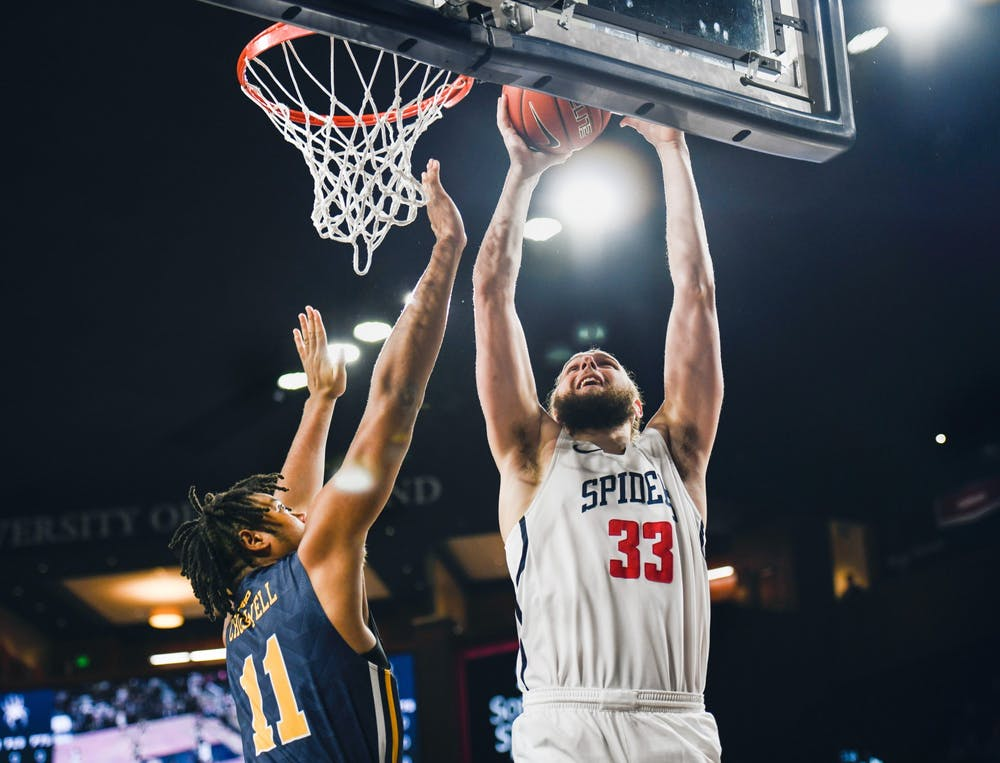 <p>Redshirt junior forward Grant Golden makes a basket during a game against La Salle on Wednesday, January 22, 2020 at the Robins Center.&nbsp;</p>